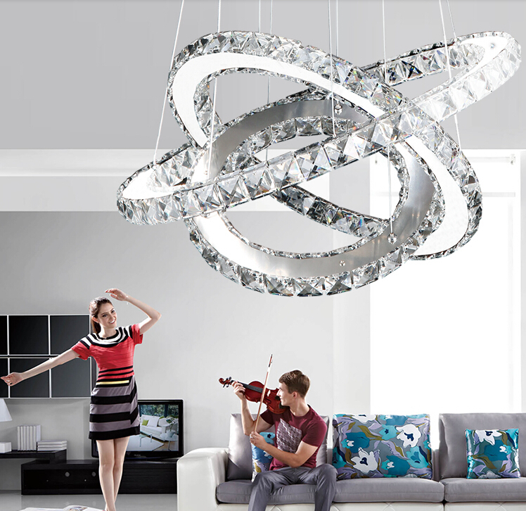 Hot sale Diamond Ring LED Crystal Chandelier Light Modern LED Lighting 3 Circles Lamp 100% Guarantee Fast and Free Shipping hot sale diamond ring led crystal chandelier light modern pendant lamp 100