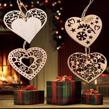 Madera Vintage Corazón de amor DIY árbol de Navidad escaparate decoración colgante niños regalo árbol de Navidad adorno de fiesta