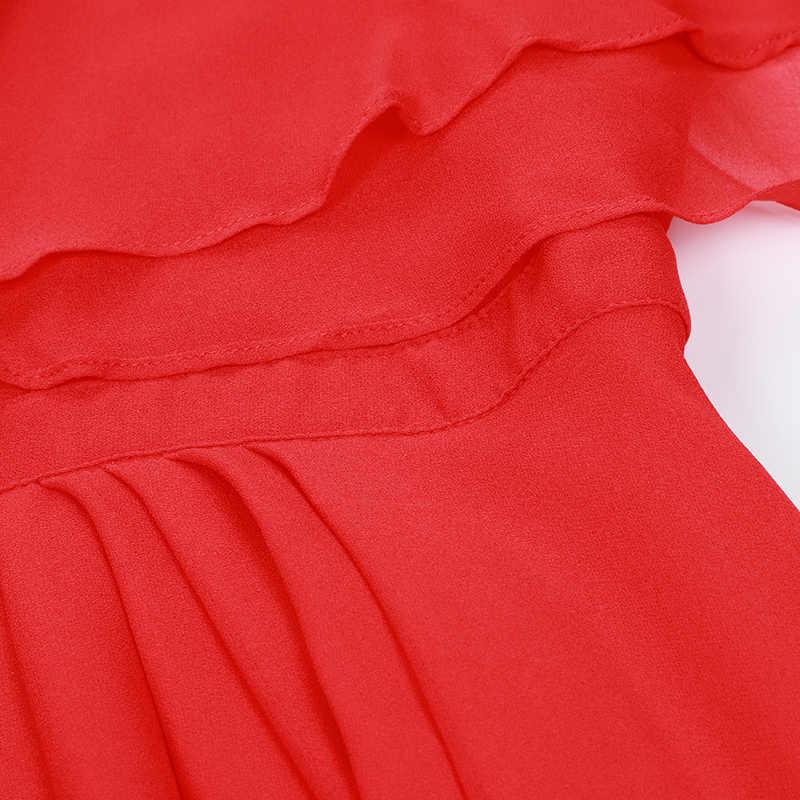 SEQINYY Красное длинное платье 2019 лето новый модный дизайнерский плащ с коротким рукавом и оборками Плиссированное женское элегантное шифоновое платье с бантом