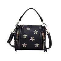 Nubuck Black Small Soft Crossbody Bag Girl Handbag With Embroidery Gold Stars Women Tote Bags Accessories