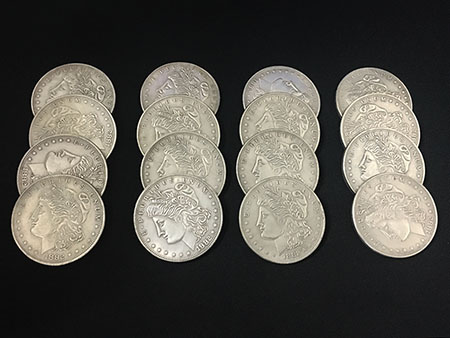 Exploded Morgan Magic Tricks 1 Morgan Coin to 4 to 16 Magia Magician Close Up Gimmick Prop Illusions Mentalism Appearing Magie