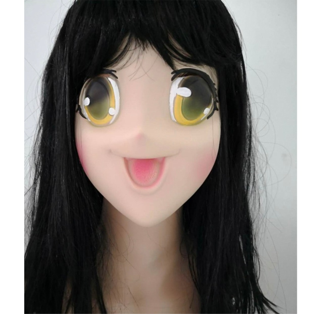 Realistic Anime Cosplay Props Latex Mask Funny Face Masks Unisex Party Props Japanese Cartoon Girls Women Halloween Costume Men