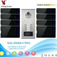 YobangSecurity 1 Camera 8 Monitor Video Intercom 7 Inch HD Video Door Phone Doorbell Response RFID Home Security Access Control
