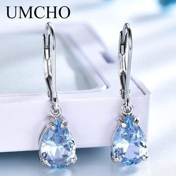 81399855a34e UMCHO sólido 925 pendientes de Clip de plata de ley para mujeres cielo azul  Topacio piedras preciosas boda compromiso joyería fina regalo de San  Valentín
