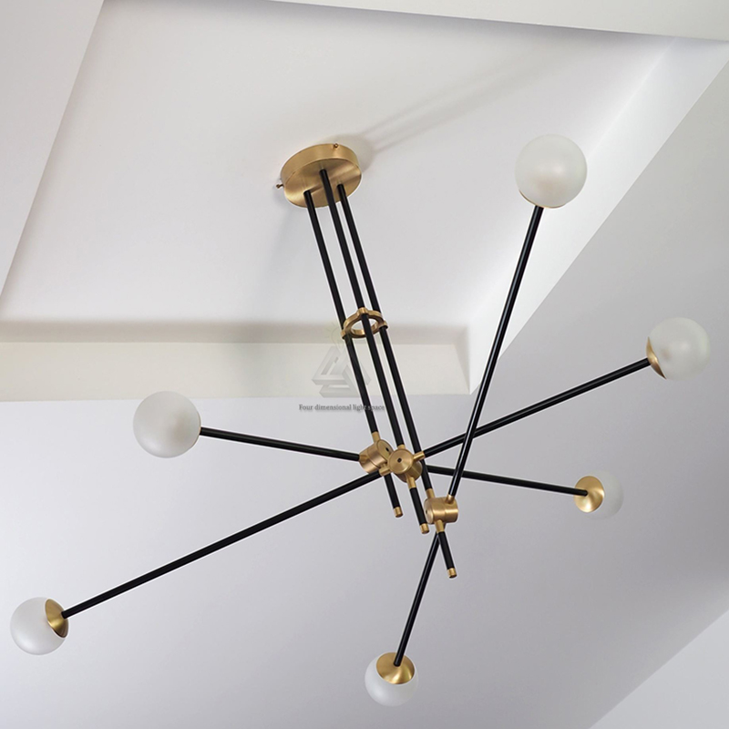 G9 modern design pendant lights black gold bar stair for Suspension luminaire bar