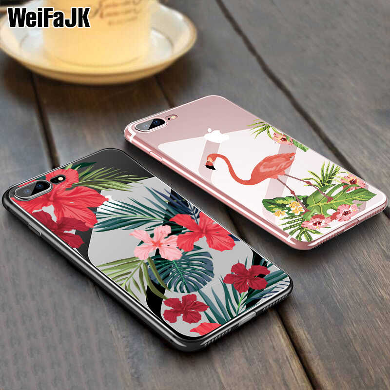 WeiFaJK Girl Flower Silicone Case For iPhone 7 6 5s Cases Flamingo Leaves Case For iPhone 6 6s 7 8 Plus X Clear Soft TPU Cover
