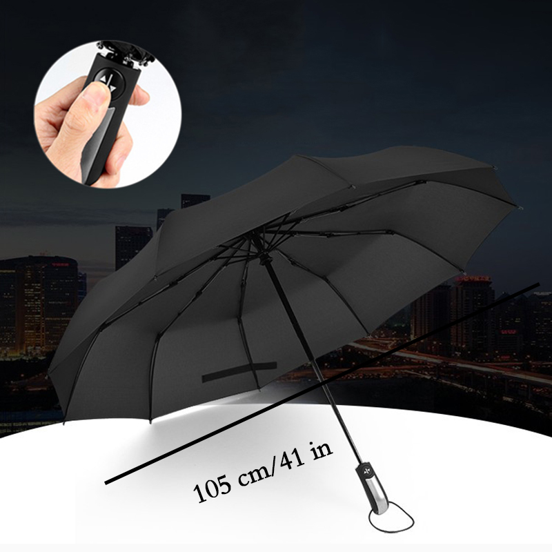 New Fully-automatic Three Folding Umbrella for Man Windproof Automatic Umbrella Gentle Black Women's Umbrellas Auto Sunshade