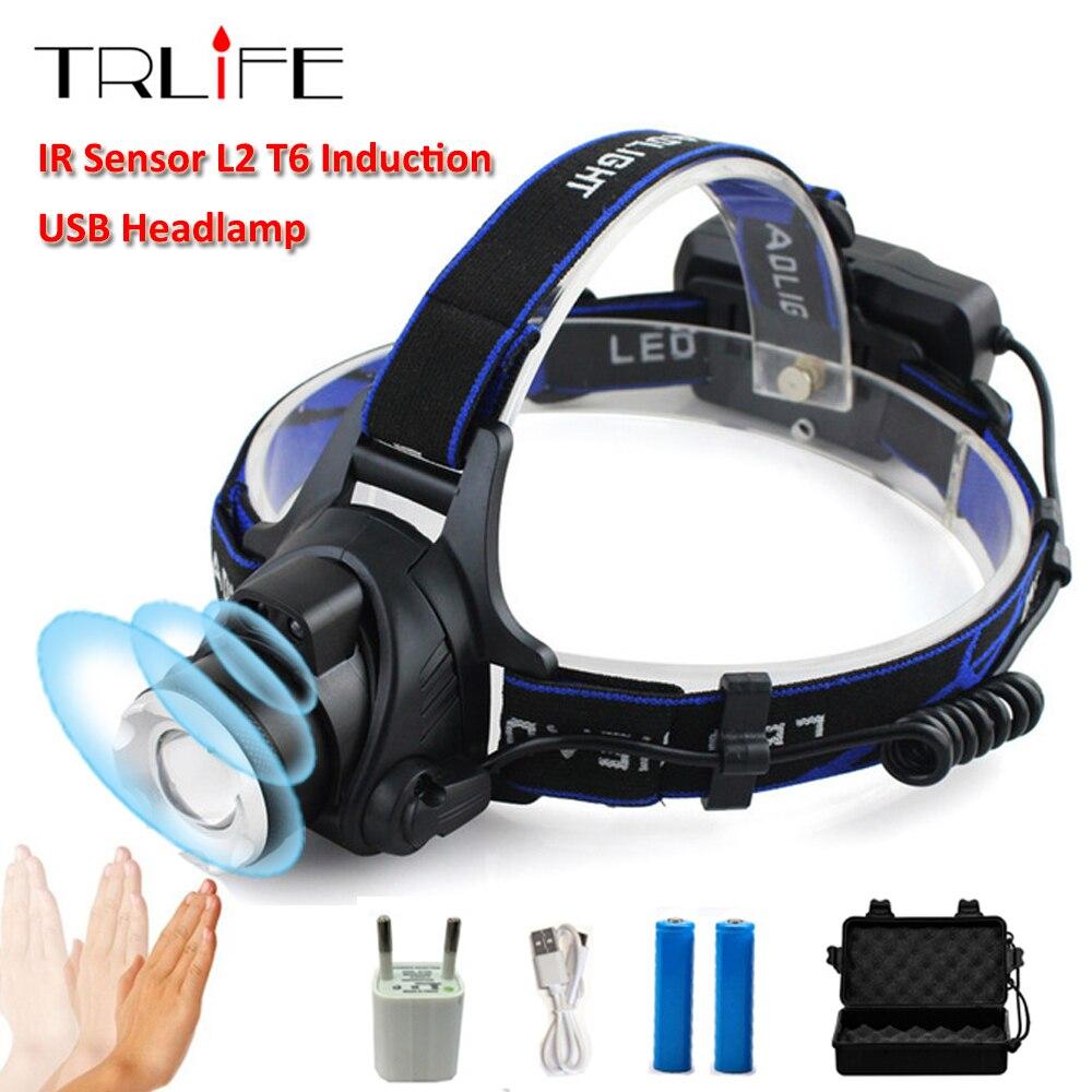10000 Lums Sensor de infrarrojos linterna USB recargable inducción LED faro L2/T6/Q5 LED la luz de la cabeza de la lámpara de la linterna 18650 batería de pesca