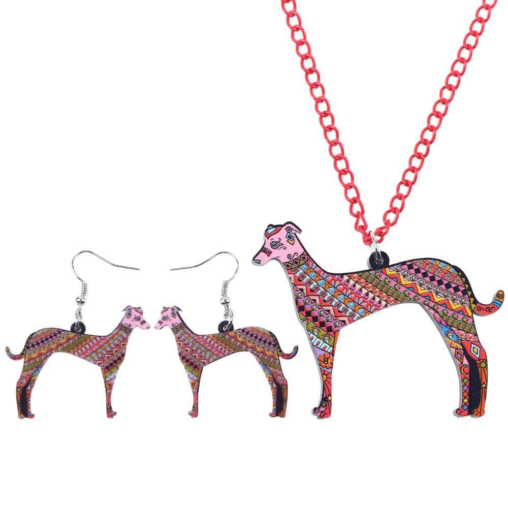 Bonsny marke schmuck sets acryl windhund hund halskette ohrringe choker kragen modeschmuck 2017 neue frühling frauen mädchen geschenk
