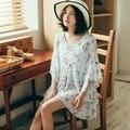 Irregular flowers print  petal sleeve long doll shirt cool summer   010011