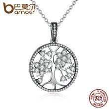 Bamoer Классический 925 стерлингового серебра Древо жизни круглый кулон ожерелья для женщин fine jewelry ожерелье PSN013
