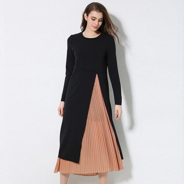 XL- XXXL 4XL 5XL Plus size Dress 2017 New Arrival Spring Women Long sleeve  Patchwork Twinset Casual Loose Long Dresses 83cee0557f5a