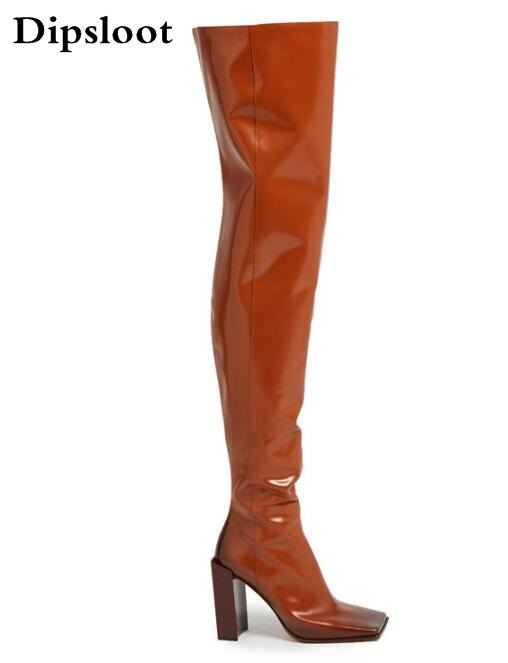 2017 Winter New Fashion Women Brown or White Color Square Toe Heels Over The Knee High Thigh Boots Martin Long Boots Big Size 42 2017 winter new fashion women brown or white color square toe heels over the knee high thigh boots martin long boots big size 42