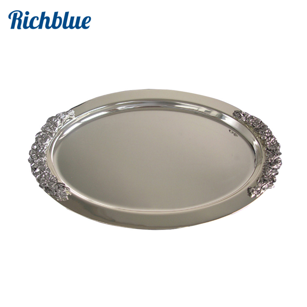 Ever Perfect 41cm Oval Steeling Silver Plated Metal Service Tray Serving Tray For Home Hotel Decoration 1087