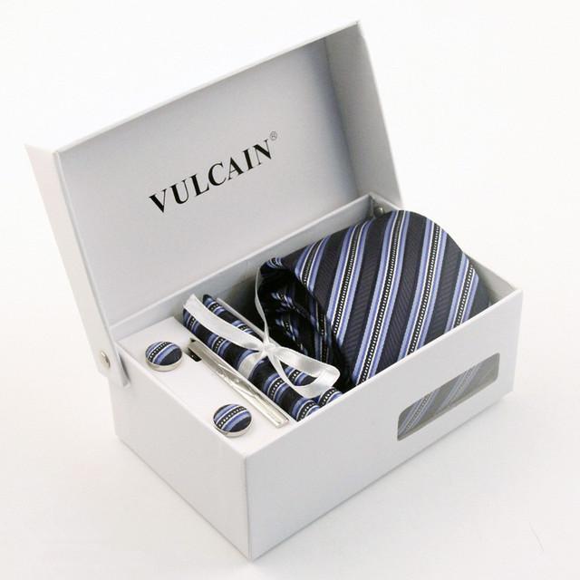 6 Pçs/set 100% Laços de Seda Listrada Azul Marinho Gravata Preta dos homens Vestido colete E Gravata Partido Set Para Suit Ou Tuxedo Com Presente caixa