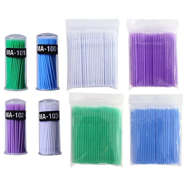 100 unids/set maquillaje desechable hisopos de algodón extensión de pestañas Mini aplicadores individuales casa máscara cepillo de algodón hisopo suave