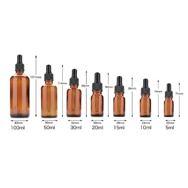 10pcs 5ml/10ml/15ml/20ml/30ml/50ml Empty Amber Brown Glass Dropper Bottles Essential Oil Liquid Aromatherapy Pipette Containers