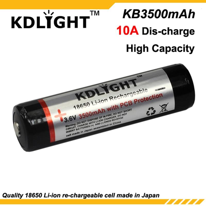 KDLITKER KB3500mAh 3.6V 3500mAh Rechargeable Li-ion 18650 Battery With PCB
