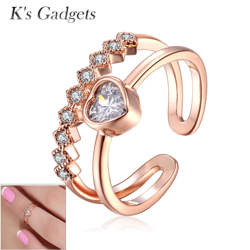 K's Gadgets Rose Gold Silver Color Knuckle Rings Crystal Finger Joint Ring Fashion Nail Rings Jewelry Women Adjustable Toe Ring alex чайный сервиз бабочки в саду