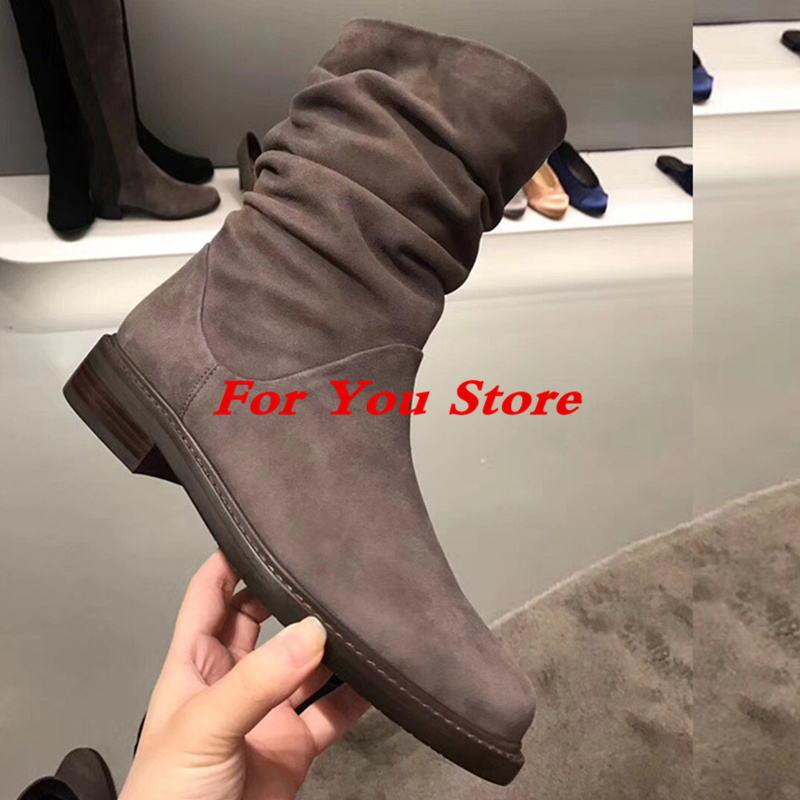 Round Toe Low Heel Women Short Booties Pleated Design Winter Shoes Luxury Brand Super Star Runway Boots Fashion Mid-calf Boots miquinha round toe women boots mixed color short booties luxury brand women cool runway fashion star high heel boots buckle shoe