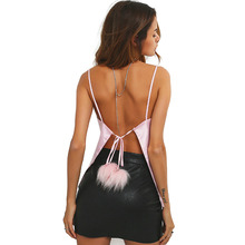 Pink Backless Tied Back with Fluffy Ball Sexy Camisole Summer Spaghetti Strap Square Neck Casual Loose Women Camis Top