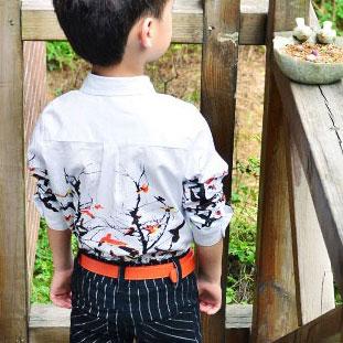 Jaunais 2018 Bērnu filiāles modelis ziedu kleitas krekliem zēniem, - Bērnu apģērbi - Foto 4