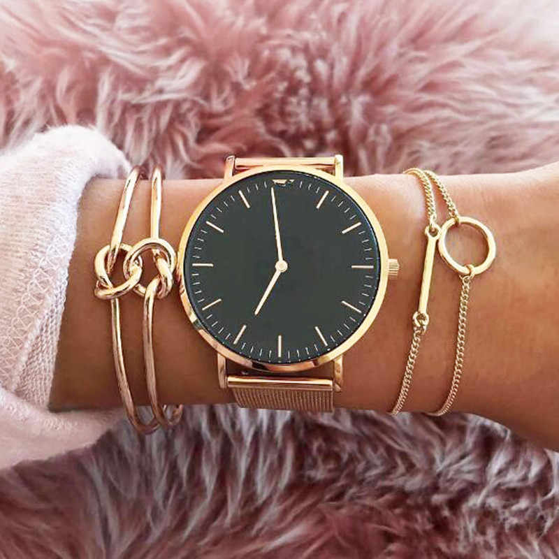 3pcs / set fashion Punk Simple bracelet double knot Loop Metal chain bracelet Bohemian Golden Color Retro Bangle For Women ns16
