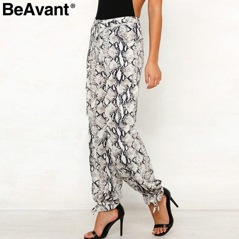 BeAvant Satin high waist casual   pants   women Animal pattern snake print wide leg   pants     capris   2019 Summer fashion female trousers