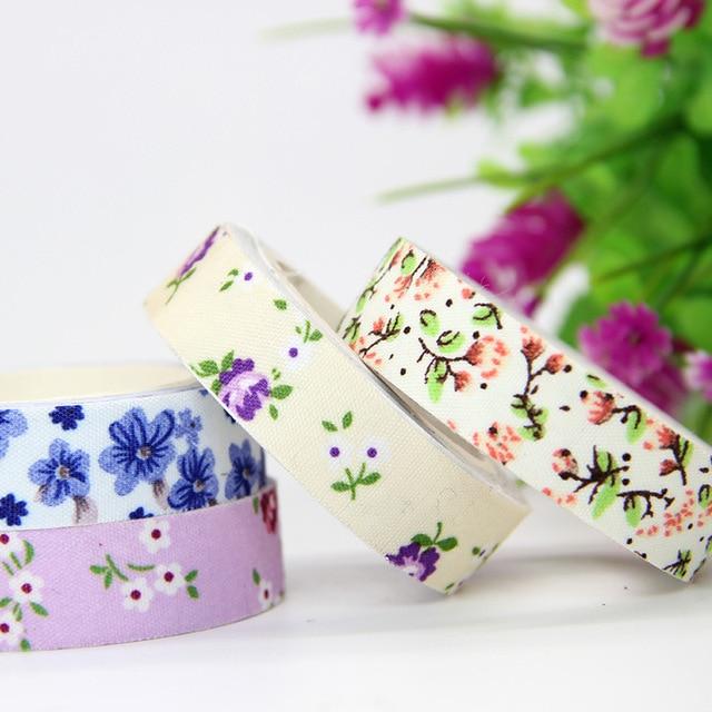 5pcs Floral Star Lattice Cloth Tape DIY Ribbons Sticker Wedding Birthday Festival Decoration Home Decor Wrapping