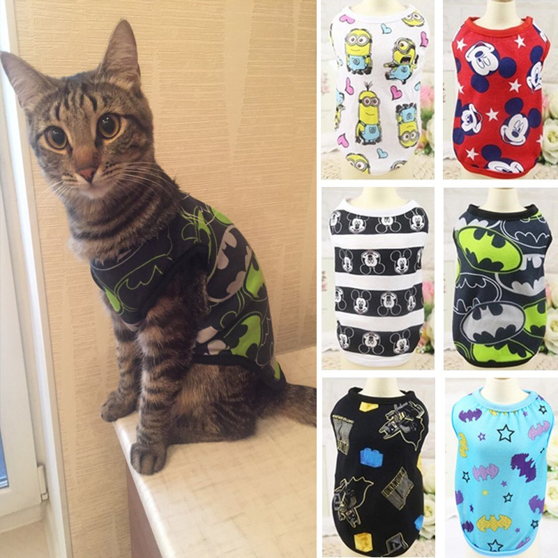 Fashion Summer Cat Costume Clothes Cartoon Cat T-shirt Vest Pet Tshirt Clothing For Small Cats Kitten Shirt Coat Pet Dog Clothes