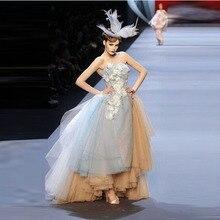 033e9f35e1 Vestido de Noche de la manera de Hielo Azul Fuera Del Hombro Vestidos De  Fiesta marca Diseño Único Vestido de Fiesta Elegante Ch..