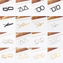 Fashion Women Simple Hollow Geometric Bar Circle Ear Stud Charms Unisex Korean Gold/Silver/Black Stud Earrings Popular Jewelry(China)
