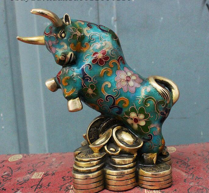 free Folk Chinese Cloisonne Enamei Bronze Gilt Yuanbao Money Bull Oxen Animal Statue fastfree Folk Chinese Cloisonne Enamei Bronze Gilt Yuanbao Money Bull Oxen Animal Statue fast