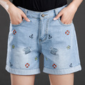 2016 new large size women summer code denim shorts female fat MM slim hole leisure trousers for fashion girl