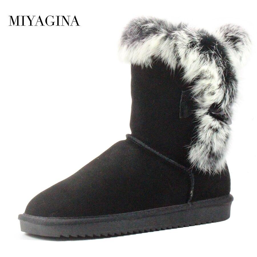 MIYAGINA Women's 100% Real Natural Rabbit Fur Snow Boots Genuine Cowhide Leather women Boots Female Winter Shoes miyagina high quality genuine sheepskin real fur 100