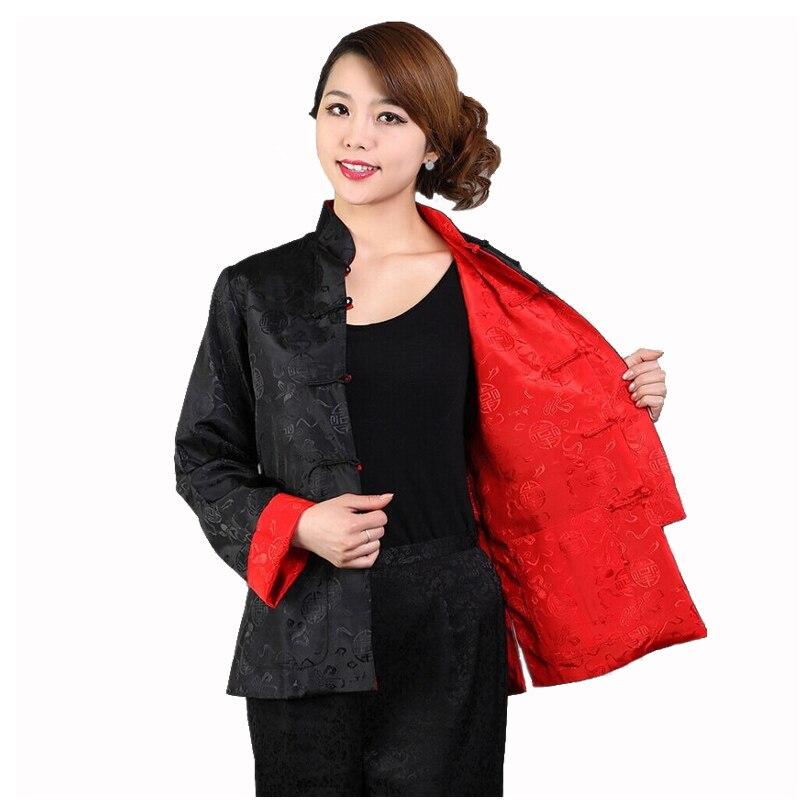 b9412d9bd9c4d Nowość black red odwracalny lady silk satin jacket chiński dwa boczne  kung-fu płaszcz znosić rozmiar s m l xl xxl xxxl m-28