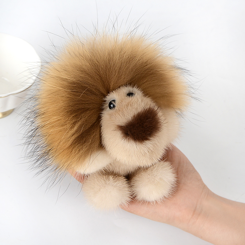 Véritable vison fourrure en peluche sac pendentif mode porte-clés ornements vraie fourrure doré mignon roi porte-clés en peluche ornements beau cadeau