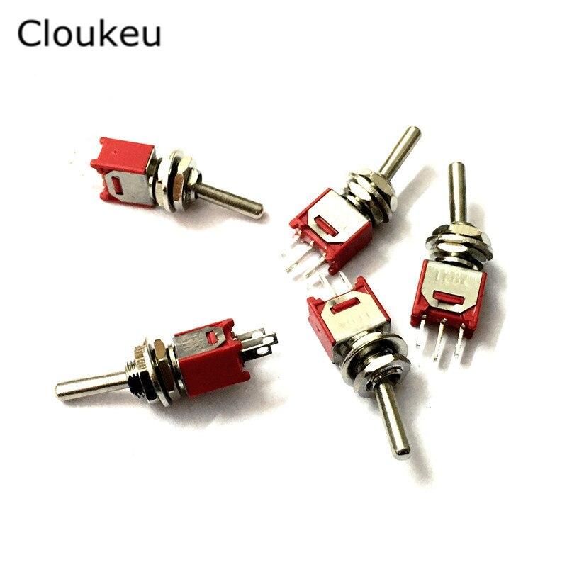 5 шт. SMTS-102 очень маленький красный 5 мм 3Pin/2 файл на кулисный переключатель тумблер 1.5A250V 3A125V