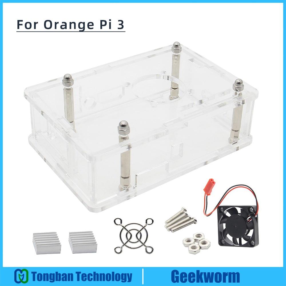 Orange Pi 3 Case With Fan Kit, Acrylic Case + Cooling Fan + Aluminum HeatSinks 4-in-1 Set For Orange Pi 3(China)