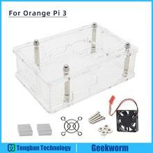 Оранжевый Pi 3 чехол с вентилятором, акриловый чехол+ вентилятор охлаждения+ Алюминий радиаторы 4-в-1 комплект для оранжевый Pi 3