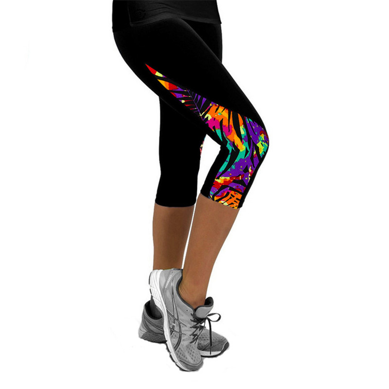 New Women Leggings High Waist Female Printed Pants Stretch Cropped Leggings Casual Miti-Colors Summer Leggins Printed Black Milk