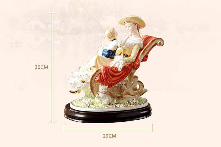 Ceramic vintage western lady characters mother and baby art porcelain  people figurine home table decoration