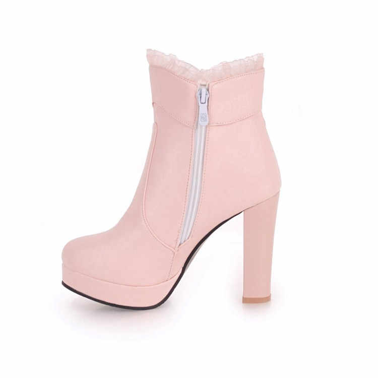 ... PXELENA Hot Sweet Ankle Boots Ladies Shoes Women Wedding Boots White  Pink Black Bowtie Ruffles High caf4b65ab9c8