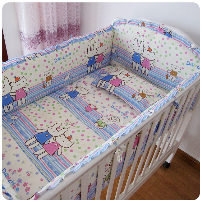 Promotion! 6PCS With Filler 100% cotton crib bedding set of unpick and wash baby bedding (bumper+sheet+pillow cover)