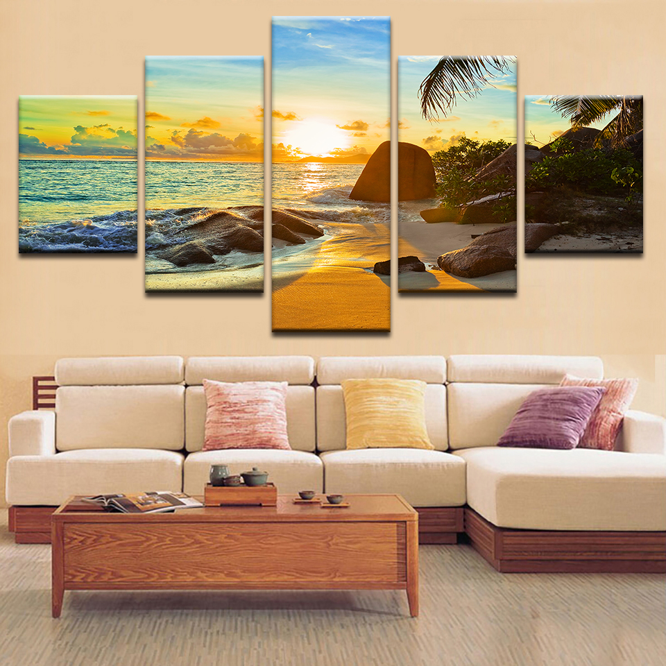 HD Printed Modern Home Decor Living Room Sunset Beach Seascape Canvas Painting Wall Art Modular Poster Pictures Frame