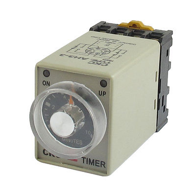 DC24V/DC12V/AC110V/AC220V  8 Pin 0-10 Minutes Rail Mount AH3-3 Delay Timer Time Relay w Base ac 380v 0 60 minutes 8 pin din rail delay timer time relay w base ah3 3
