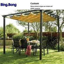 Custom Gazebo Toldo Folding Telescopic Wave Sun Shade Sail Awning Canopy HDPE Mesh Shading 95% Garden Tent Sun Room Outdoor Yard catalog sun wave