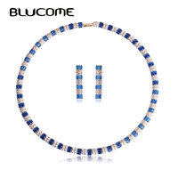Blucome Dubai Earring Necklace Jewelry Sets Women Blue Rhinestone Cubic Zircon Fashion Copper Costume Collier Brincos