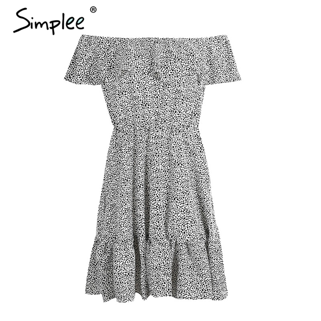Simplee Sexy off shoulder ruffle dot summer dress Women casual beach chiffon short dress robe Elegant party mini dress vestidos