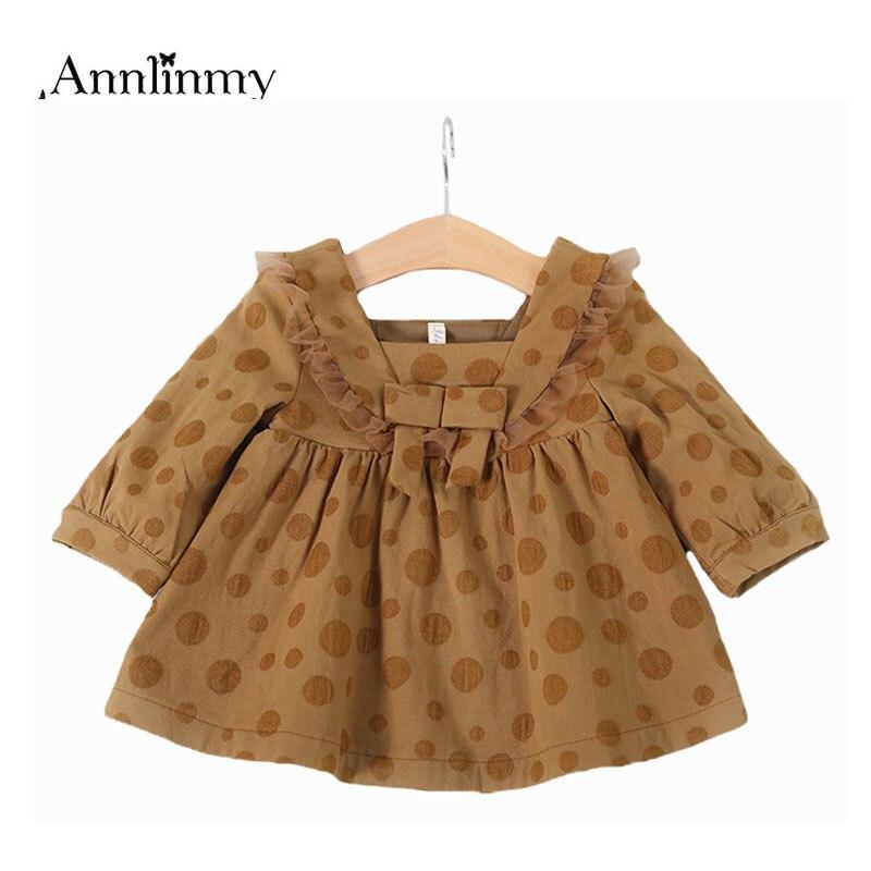 2018 spring autumn baby dresses polka dot children dress bow toddler girl clothes baby birthday dress vestido-infantil newborn